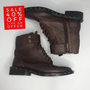 Vince Camuto Brown Leather Talorini Studded Boots